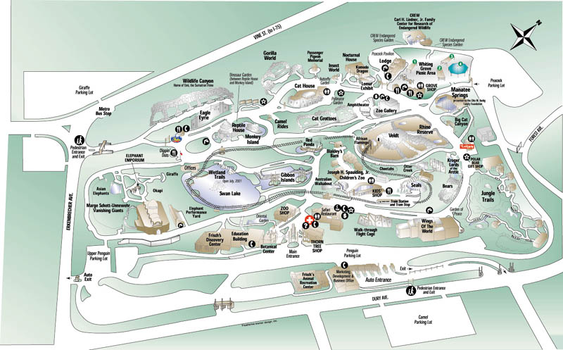 Zoos - Cincinnati */** Cincinnati Zoo Map on