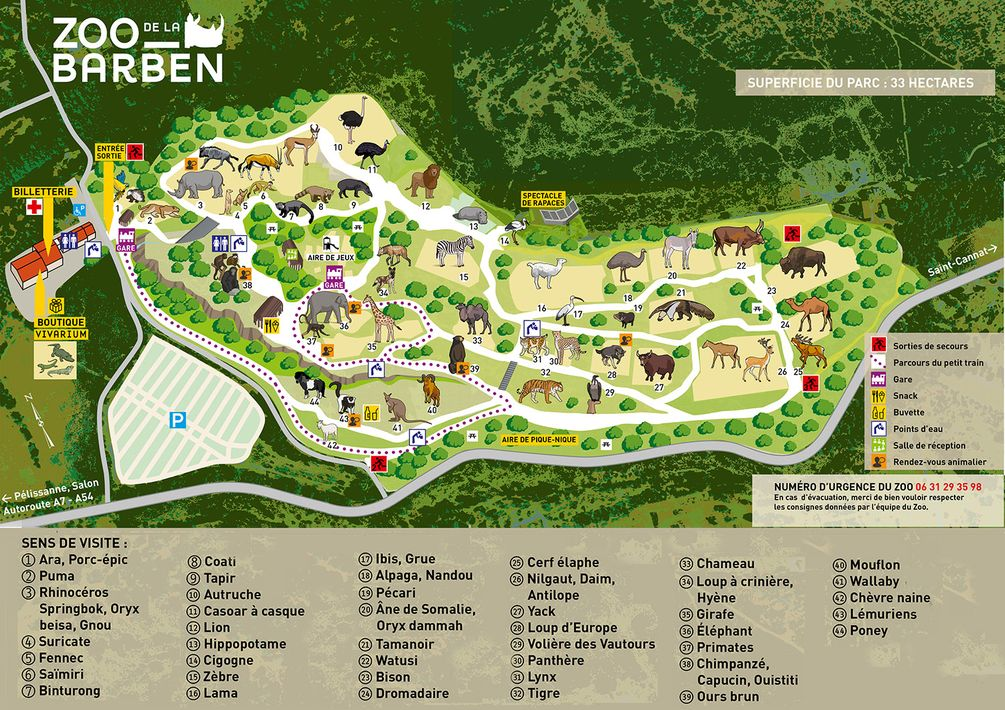 Map Of Zoos In France.Zoos La Barben
